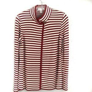 St John Cardigan Knit Sweater Red White Stripe